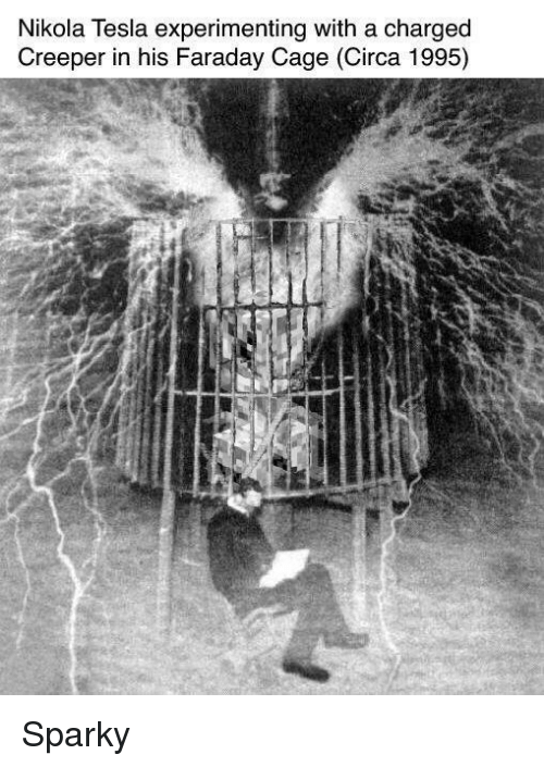 Nikola Tesla Experimenting With a Charged Creeper in His