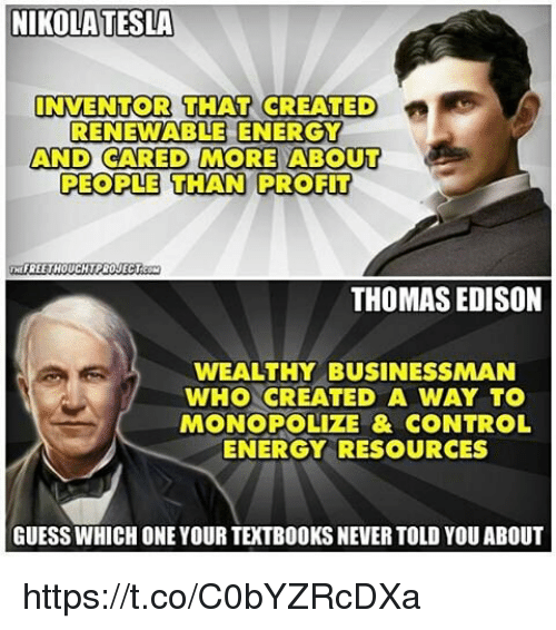 nikola tesla inventor that created renewable energy and cared more 11116839 ✅ 25 best memes about renewable energy renewable energy memes