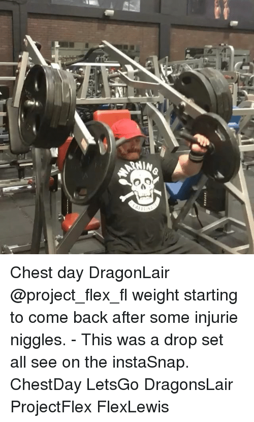 Flexing, Memes, and Chest Day: NIN  ALMa  譽-a Chest day DragonLair @project_flex_fl weight starting to come back after some injurie niggles. - This was a drop set all see on the instaSnap. ChestDay LetsGo DragonsLair ProjectFlex FlexLewis