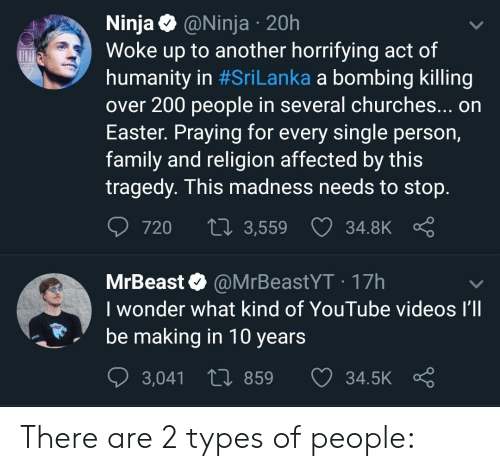 Easter, Family, and Reddit: Ninja @Ninja 20h  Woke up to another horrifying act of  humanity in #SriLanka a bombing killing  over 200 people in several churches... on  Easter. Praying for every single person,  family and religion affected by this  tragedy. This madness needs to stop  720 t 3,559  34.8K  o  MrBeast @MrBeastYT 17h  I wonder what kind of YouTube videos I'll  be making in 10 years  3,041  859  34.5K There are 2 types of people: