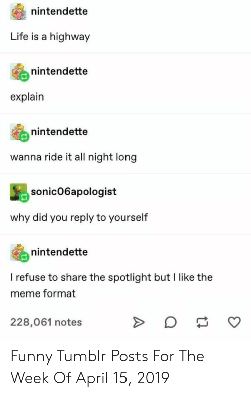 Funny, Life, and Meme: nintendette  Life  highway  nintendette  explain  nintendette  wanna ride it all night long  sonic06apologist  why did you reply to yourself  nintendette  I refuse to share the spotlight but I like the  meme format  228,061 notes  A Funny Tumblr Posts For The Week Of April 15, 2019