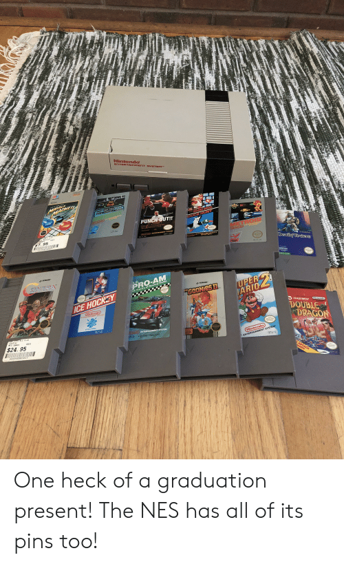 Hockey, Nintendo, and Sports: Nintendo  ENTERTAINMENT SYSTEM  MB  MARBLE  MADNE  TIM 209 MPH DCORS  044 G G12000  MARIO BROS  SUPER  Nintendo NTERTAINAET  PUNCH-OUT!!  DUCK HUNT  Fhr Tr T  D 5A CR  GAME S PLUS  aHadnes SED  anes  METROID  7. 95  Plintendo ENTERTAINMENT SYSTEM  NES-PT-USA  Nintendo N TAINNSNT  Tende EnT YSTEM  032244048807  RTAINMENT  DeadlTosders  bnd  ADVCT  NES MT USA  vstarSories  KONAMI  R.C  PRO-AM  UPER  ARIO  KONAM  32 Tracks of Racing Thrills  GOONIESI  SHE  ICE HOCKEY  Nintendo  BTERTAINMENT SYSTET  TRADEWEST  Nintendo  DOUBLE  DRAGON  SPORTS SERIES  NES HY-USA  ES PLUS  Contra  NES Games  fintendo ENTERTAINMENT SYSTEM  USED  $24. 95  PM-USA  O 1987 Rare, Ltd  Nintendo  000008943207  ENTERTAINMENT SYSTEM  e  NES-W ms  ARCADE  MASH! One heck of a graduation present! The NES has all of its pins too!