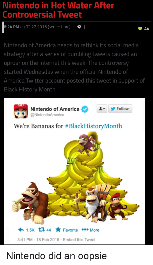 Nintendo In Hot Water After Controversial Tweet 624 Pm On 02222015 Server Time I Nintendo Of America Needs To Rethink Its Social Media Strategy After A Series Of Bumbling Tweets Caused A Plus, get the latest games and news on the official nintendo site. hot water after controversial tweet
