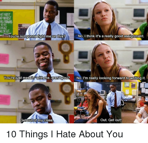 10 things i hate about you essay This is not an example of the work written by our professional essay writers   the modern appropriation, ten things i hate about you, goes along the same.