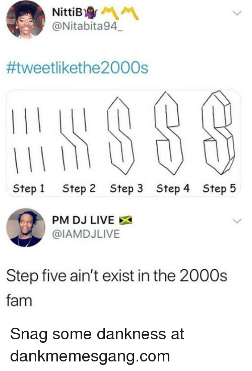 Fam, Memes, and Live: @Nitabita94  #tweetlikethe2000s  Step 1  Step 2  Step 3  Step 4  Step 5  PM DJ LIVE  @IAMDJLIVE  Step five ain't exist in the 2000s  fam Snag some dankness at dankmemesgang.com