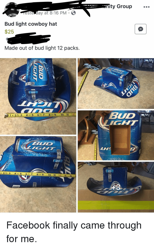 9461dfae86aca Nity Group Este Day at 816 PM O REED Bud Light Cowboy Hat  25 Made ...