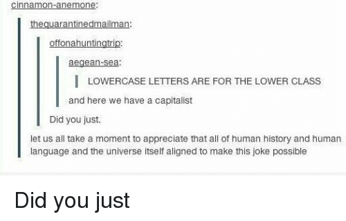 Memes, Capitalist, and 🤖: nna mon anemone  theguarantinedmailman  offonahuntingtr  aegean Sea  I LOWERCASE LETTERS ARE FOR THE LOWER CLASS  and here we have a capitalist  Did you just  let us all take a moment to appreciate that all of human history and human  language and the universe itself aligned to make this joke possible Did you just
