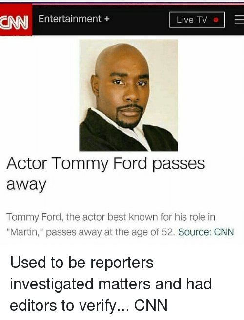 Nni Entertainment Live Tv Actor Tommy Ford Passes Away Tommy Ford