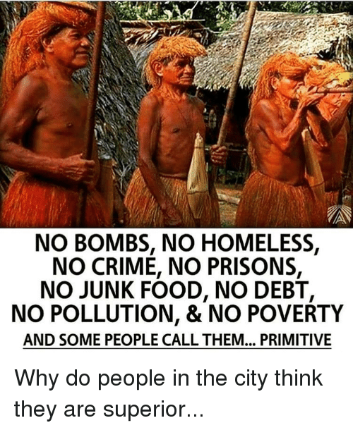 Crime, Homeless, and Memes: NO BOMBS, NO HOMELESS,  NO CRIME, NO PRISONS,  NO JUNK FOOD, NO DEBT,  NO POLLUTION, & NO POVERTY  AND SOME PEOPLE CALL THEM... PRIMITIVE Why do people in the city think they are superior...
