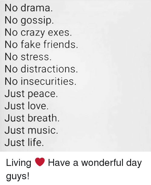 Crazy, Fake, and Friends: No drama.  No gossip  No crazy exes  No fake friends.  No stress.  No distractions.  No insecurities.  Just peace.  Just love  Just breath  Just music.  Just life. Living ❤️ Have a wonderful day guys!