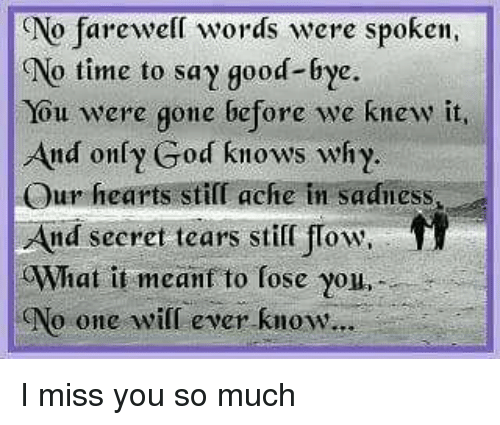 No Farewell Words Were Spoken No Time To Say Good Bye You Were Gone