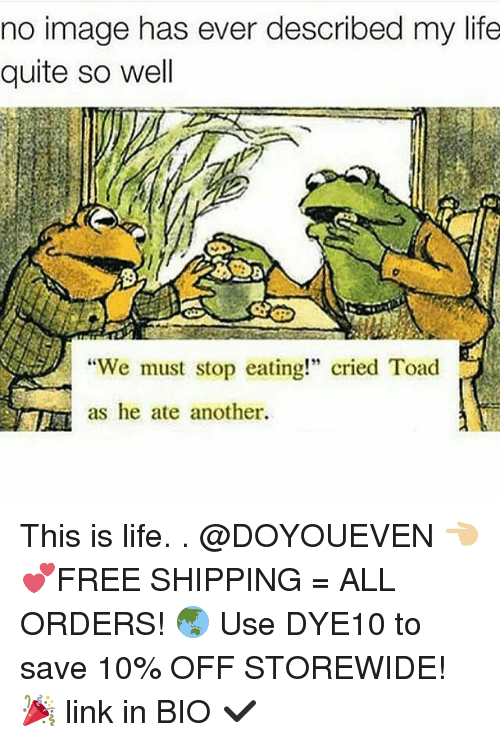 """Gym, Toad, and Linked In: no image has ever described my life  quite so well  """"We must stop eating!"""" cried Toad  as he ate another. This is life. . @DOYOUEVEN 👈🏼 💕FREE SHIPPING = ALL ORDERS! 🌏 Use DYE10 to save 10% OFF STOREWIDE! 🎉 link in BIO ✔️"""
