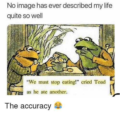 """Life, Memes, and Image: No image has ever described my life  quite so well  """"We must stop eating!"""" cried Toad  as he ate another. The accuracy 😂"""