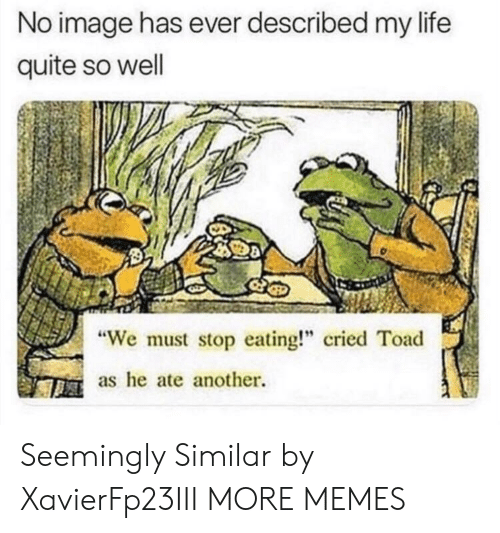 """Dank, Life, and Memes: No image has ever described my life  quite so well  We must stop eating!"""" cried Toad  as he ate another. Seemingly Similar by XavierFp23III MORE MEMES"""
