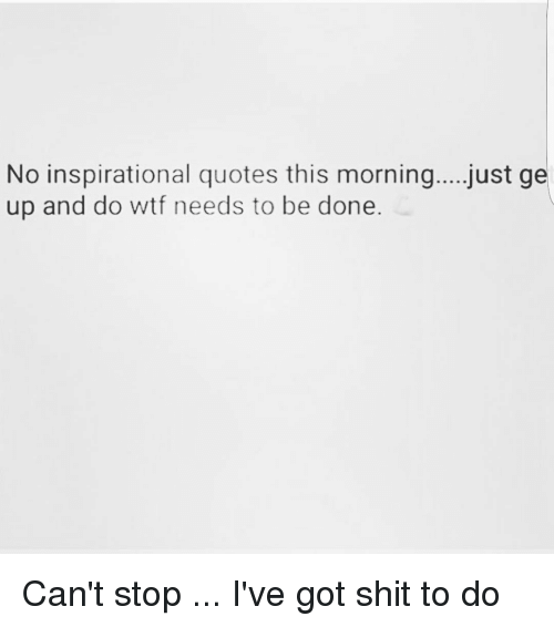No Inspirational Quotes This Morningjust Ge Up And Do Wtf Needs To