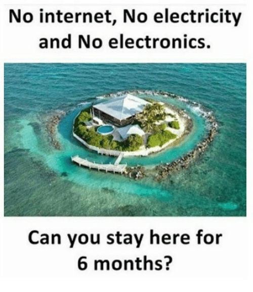 Internet, Indonesian (Language), and Electricity: No internet, No electricity  and No electronics.  Can you stay here for  6 months?