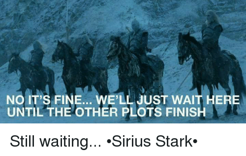 Memes, Waiting..., and 🤖: NO IT'S FINE... WE'LL JUST WAIT HERE  UNTIL THE OTHER PLOTS FINISH Still waiting... •Sirius Stark•