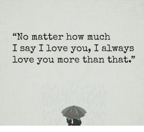 No Matter How Much I Say I Love You I Always Love You More Than That