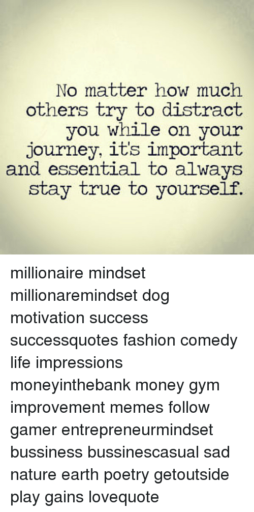 Fashion, Gym, and Journey: No matter how much  others trv to distract  vou While on your  journey, it's important  and essential to always  vourself.  aid  stay true to millionaire mindset millionaremindset dog motivation success successquotes fashion comedy life impressions moneyinthebank money gym improvement memes follow gamer entrepreneurmindset bussiness bussinescasual sad nature earth poetry getoutside play gains lovequote