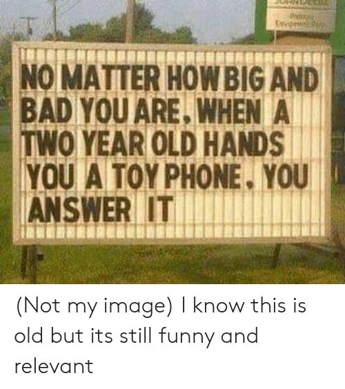 Bad, Funny, and Phone: NO MATTER HOWBIG AND  BAD YOU ARE, WHEN A  TWO YEAR OLD HANDS  YOU A TOY PHONE, YOU  ANSWER IT (Not my image) I know this is old but its still funny and relevant