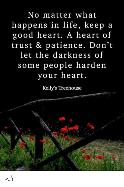 Life, Memes, and Good: No matter what  happens in life, keep a  good heart. A heart of  trust & patience. Don't  let the darkness of  some people harden  your heart.  Kelly's Treehouse <3