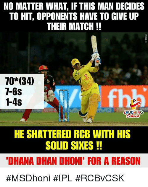 Match, Reason, and Indianpeoplefacebook: NO MATTER WHAT, IF THIS MAN DECIDES  TO HIT, OPPONENTS HAVE TO GIVE UP  THEIR MATCH!!  70 (34)  1-6s  1-4S  LAUGHING  Coloers  HE SHATTERED RCB WITH HIS  SOLID SIKES!!  DHANA DHAN DHONI' FOR A REASON #MSDhoni #IPL #RCBvCSK