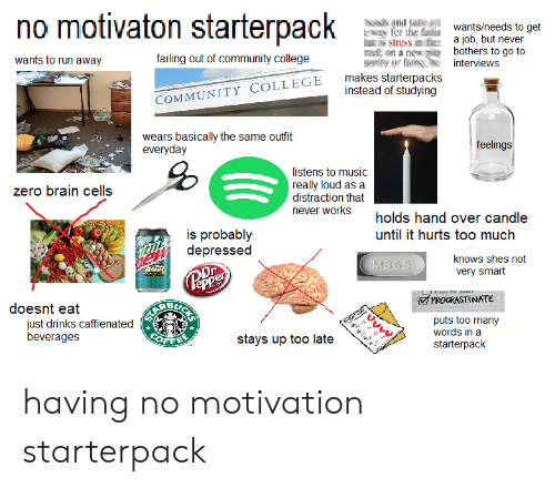 College, Community, and Music: no motivaton starterpack  v  anwants/needs to get  jo  tor the au  a job, but never  bothers to go to  heis stress in  wants to run away  failing out of community college  ton a ne  yor fiainterviews  TY COLLEGE makes starterpacks  instead of studying  COMMUNITY  wears basically the same outfit  everyday  feelings  listens to music  really loud as a  distraction that  never works  zero brain cells  holds hand over candle  until it hurts too much  is probably-  depressed  knows shes not  very smart  PROCRASTINATE  doesnt eat  BU  just drinks caffienated  beverages  )  puts too many  words in a  starterpack  stays up too late having no motivation starterpack