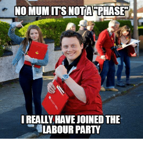 No Mum Nota Phase I Really Havejoinedthe Labour Party Party Meme