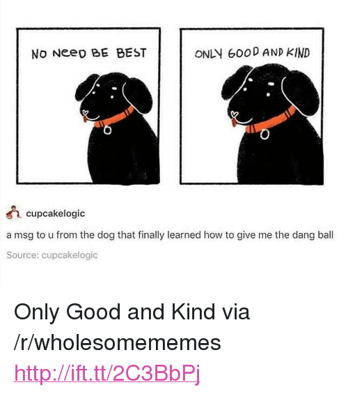 """Best, Good, and How To: No Neeo BE BEST  ONLY 600D AND KIND  cupcakelogic  a msg to u from the dog that finally learned how to give me the dang ball  Source: cupcakelogic <p>Only Good and Kind via /r/wholesomememes <a href=""""http://ift.tt/2C3BbPj"""">http://ift.tt/2C3BbPj</a></p>"""