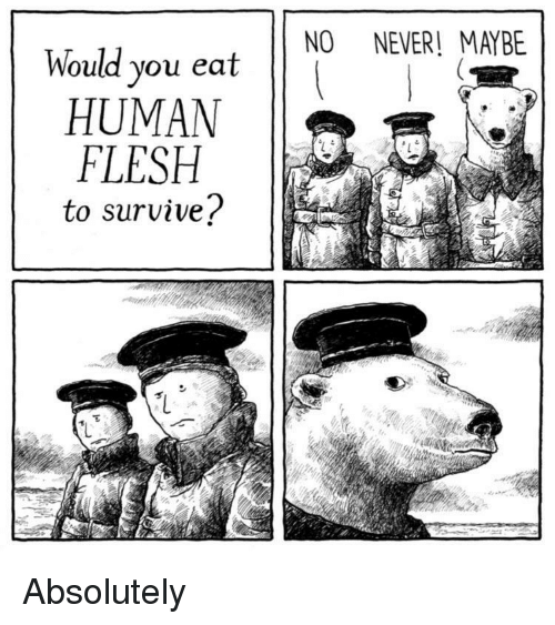 Never, Human, and You: NO NEVER! MAYBE  Would you eat  HUMAN  FLESH  to survive? Absolutely