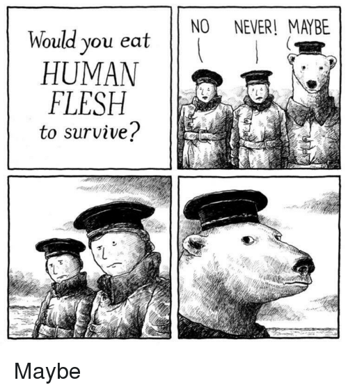 Never, Human, and You: NO NEVER! MAYBE  Would you eat  HUMAN  FLESH  to survive? Maybe