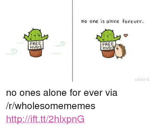 """Being Alone, Forever, and Free: no one is alone forever.  FREE  HUGS  FREE  chibird <p>no ones alone for ever via /r/wholesomememes <a href=""""http://ift.tt/2hlxpnG"""">http://ift.tt/2hlxpnG</a></p>"""