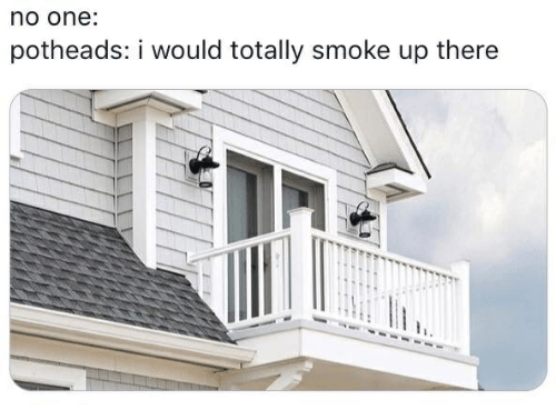 One, Smoke, and I Would: no one:  potheads: i would totally smoke up there