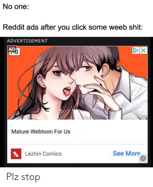 No One Reddit Ads After You Click Some Weeb Shit