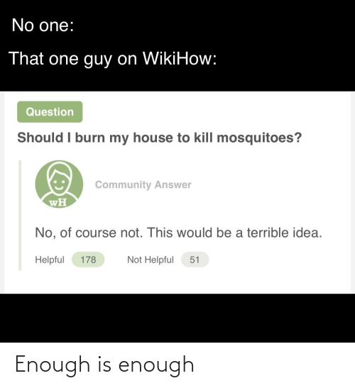 Community, My House, and Reddit: No one:  That one guy on WikiHow:  Question  Should I burn my house to kill mosquitoes?  Community Answer  wH  No, of course not. This would be a terrible idea.  Not Helpful  Helpful  178  51 Enough is enough