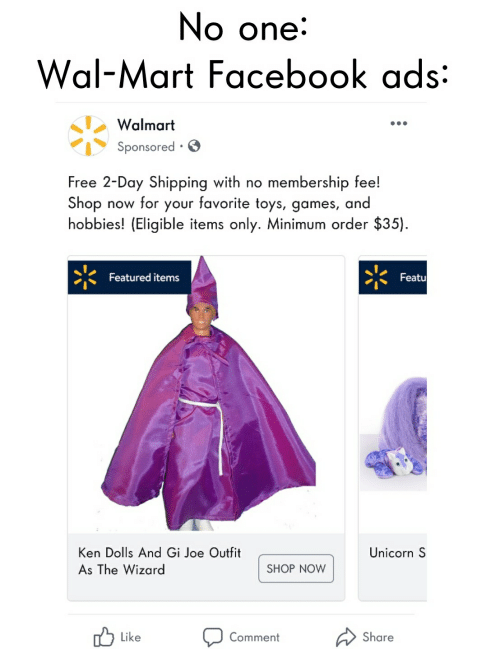 No One Wal-Mart Facebook Ads Walmart Sponsored Free 2-Day
