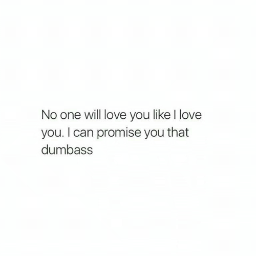 Love, I Love You, and Can: No one will love you like I love  you. I can promise you that  dumbass
