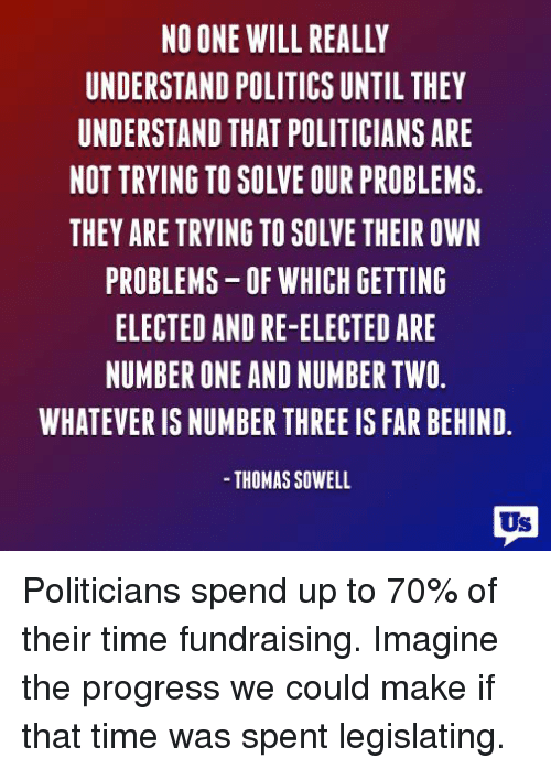 Memes, Ups, and Progressive: NO ONE WILL REALLY  UNDERSTAND POLITICS UNTIL THEY  UNDERSTAND THAT POLITICIANS ARE  NOT TRYING TO SOLVE OUR PROBLEMS.  THEY ARE TRYING TO SOLVE THEIR OWN  PROBLEMS-OF WHICH GETTING  ELECTED AND RE-ELECTED ARE  NUMBER ONE AND NUMBER TWO  WHATEVER IS NUMBER THREE IS FAR BEHIND.  THOMAS SOWELL  Us Politicians spend up to 70% of their time fundraising. Imagine the progress we could make if that time was spent legislating.