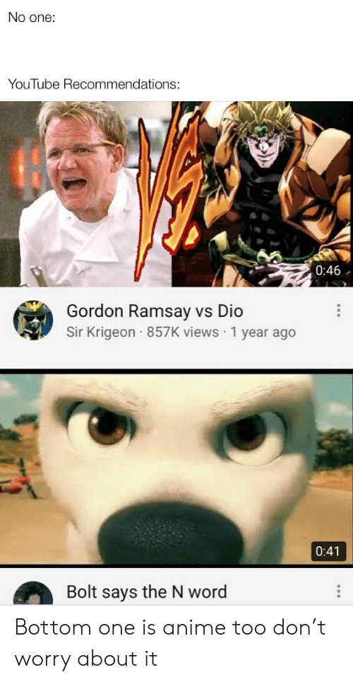 No One YouTube Recommendations 046 Gordon Ramsay vs Dio Sir