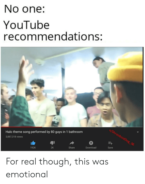 No One YouTube Recommendations Halo Theme Song Performed by