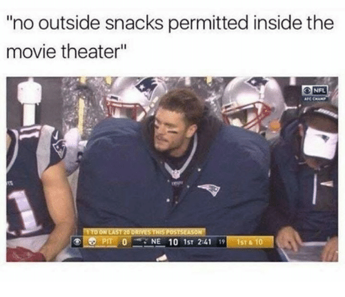 "Nfl, Movie, and Movie Theater: no outside snacks permitted inside the  movie theater""  NFL  AFC CHAMP  