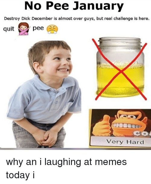 Memes, Dick, and Today: No Pee January  Destroy Dick December is almost over guys, but real challenge is here  quitpee(  Very Hard why an i laughing at memes today i