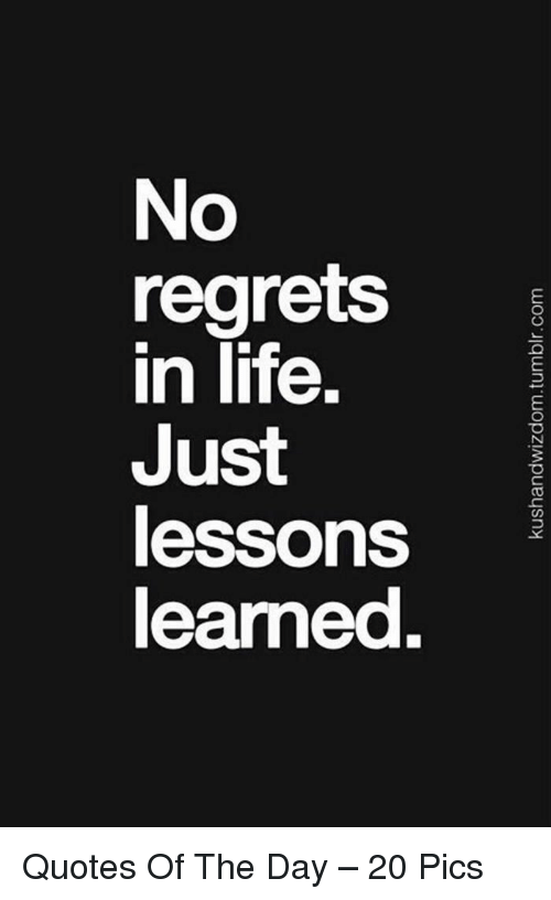 No Regrets In Life Just Lessons Learned Quotes Of The Day 20 Pics