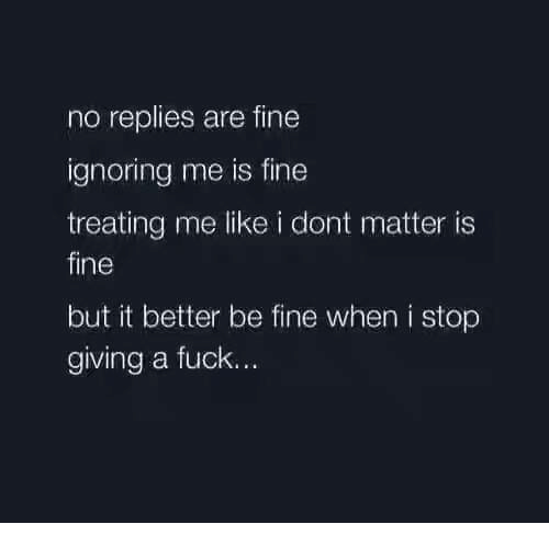 Fucking, Ignorant, and Memes: no replies are fine  ignoring me is fine  treating me like i dont matter is  fine  but it better be fine when i stop  giving a fuck.