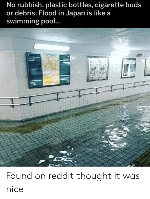 Reddit, Japan, and Pool: No rubbish, plastic bottles, cigarette buds  or debris. Flood in Japan is Ilike a  swimming pool.. Found on reddit thought it was nice