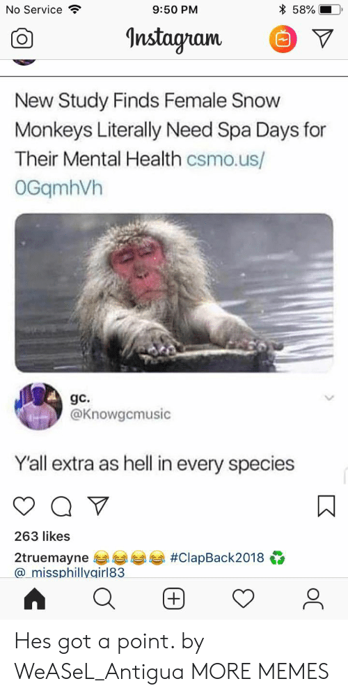 Dank, Memes, and Target: No Service  9:50 PM  * 58%-  Instagnam. V  New Study Finds Female Snow  Monkeys Literally Need Spa Days for  Their Mental Health csmo.us/  OGqmhVh  gc.  @Knowgcmusic  Yall extra as hell in every species  263 likes  2truemayne 부부부부 #ClapBack2018  a_missphillygirl83 Hes got a point. by WeASeL_Antigua MORE MEMES