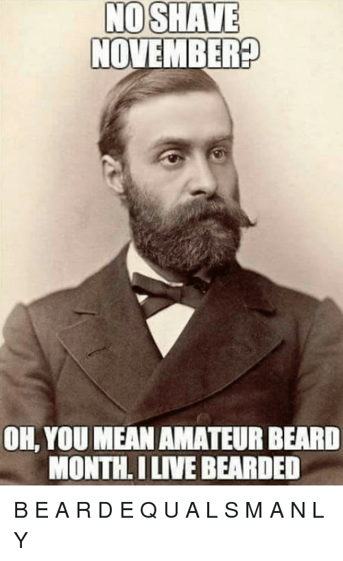 7d0aab7baae NO SHAVE NOVEMBER  OH YOU MEAN AMATEUR BEARD MONTH I LIVE BEARDED ...