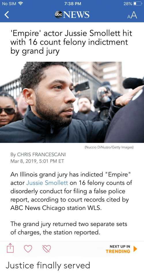 "Abc, Chicago, and Empire: No SIM  7:38 PM  28%  abeNEWS  Empire' actor Jussie Smollett hit  with 16 count felony indictment  y grana jury  (Nuccio DiNuzzo/Getty Images)  By CHRIS FRANCESCAN  Mar 8, 2019, 5:01 PM ET  An llinois grand jury has indicted ""Empire  actor Jussie Smollett on 16 felony counts of  disorderly conduct for filing a false police  report, according to court records cited by  ABC News Chicago station WLS  The grand jury returned two separate sets  of charges, the station reported  NEXT UP IN  TRENDING Justice finally served"