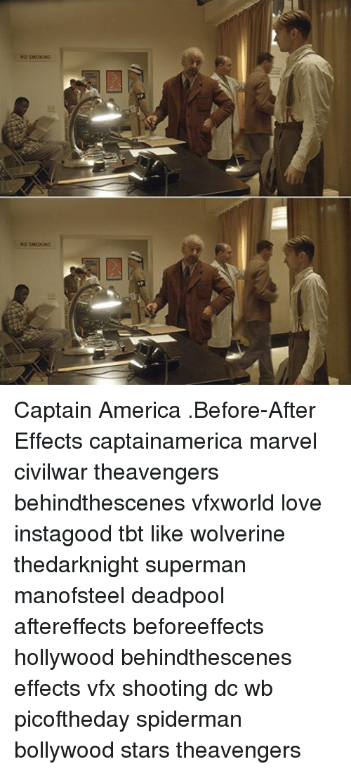 Memes, Wolverine, and Bollywood: NO SMOKING  NO SMOKING Captain America .Before-After Effects captainamerica marvel civilwar theavengers behindthescenes vfxworld love instagood tbt like wolverine thedarknight superman manofsteel deadpool aftereffects beforeeffects hollywood behindthescenes effects vfx shooting dc wb picoftheday spiderman bollywood stars theavengers