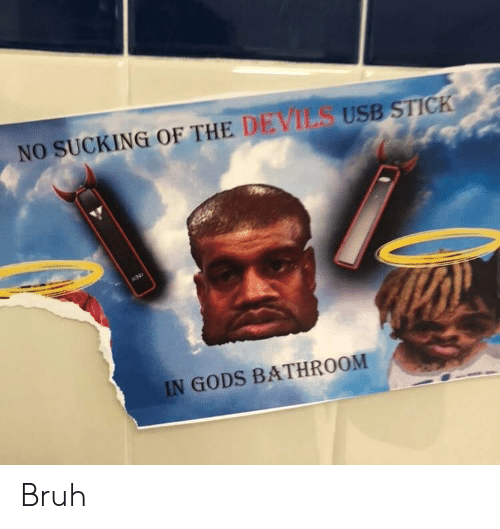 Bruh, Usb, and Stick: NO SUCKING OF THE DEVILS USB STICK  AND  IN GODS BATHROOM Bruh